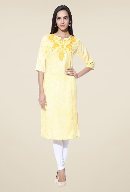 Shree Yellow Embroidered Blended Kurta