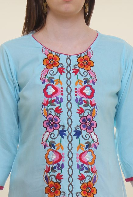 Shree Blue Embroidered Rayon Kurta