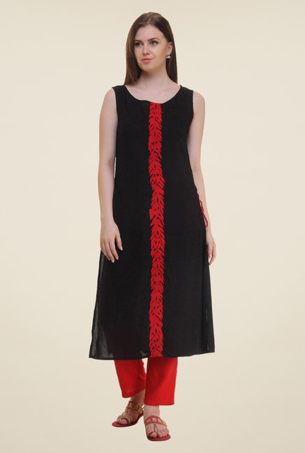 Shree Black Printed Rayon Kurta