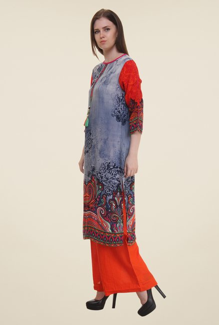 Shree Red & Grey Printed Rayon Kurta