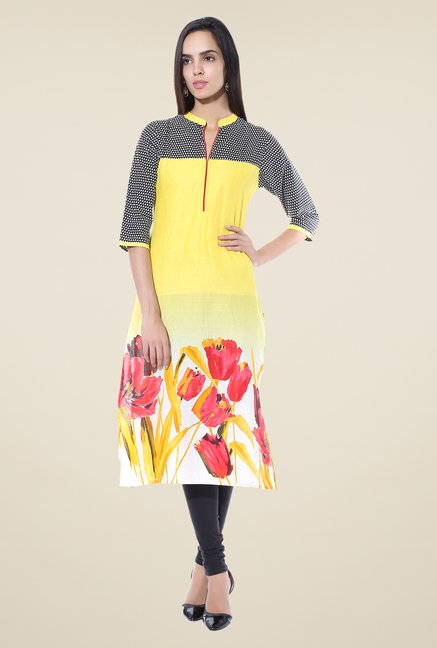 Shree Yellow Printed Cotton Kurta