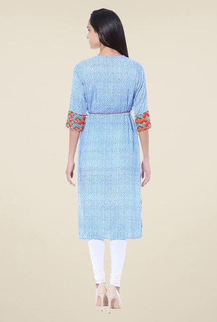 Shree Blue & Orange Printed Rayon Kurta