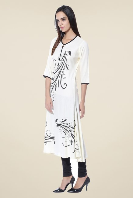 Shree Cream Printed Rayon Kurta