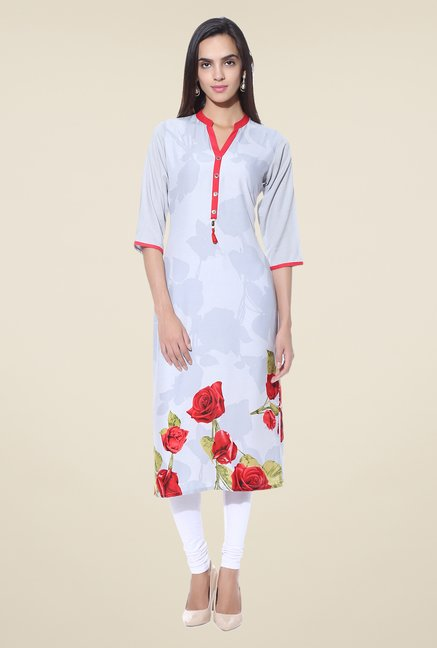 Shree Off White Floral Print Rayon Kurta