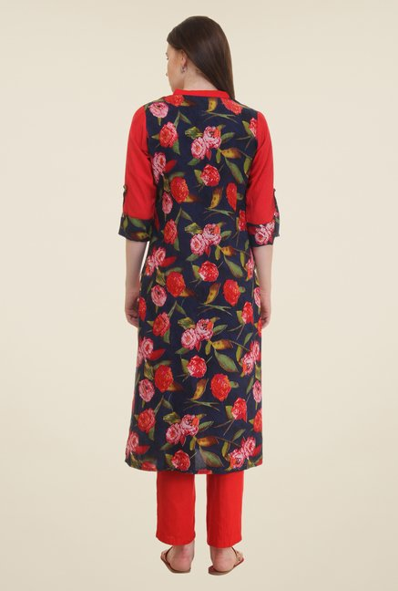 Shree Navy & Red Floral Print Rayon Kurta