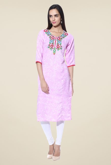 Shree Purple Embroidered Rayon Kurta
