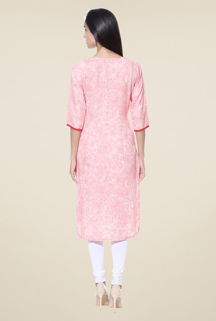 Shree Peach Embroidered Rayon Kurta