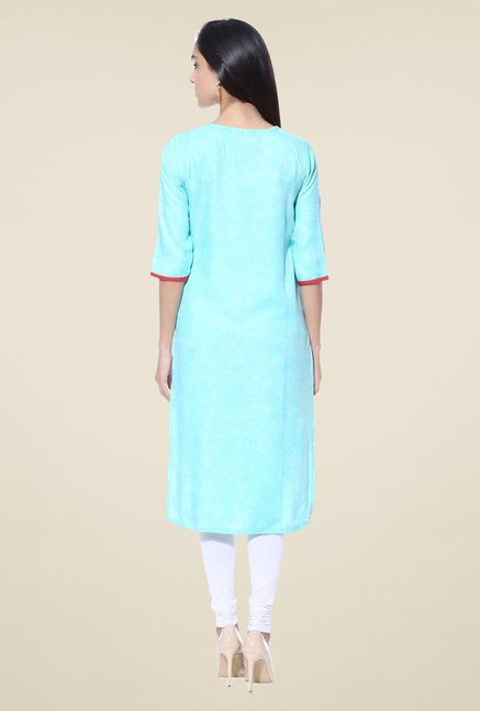 Shree Turquoise Embroidered Rayon Kurta