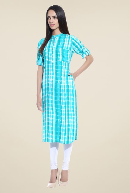 Shree Blue Printed Rayon Kurta