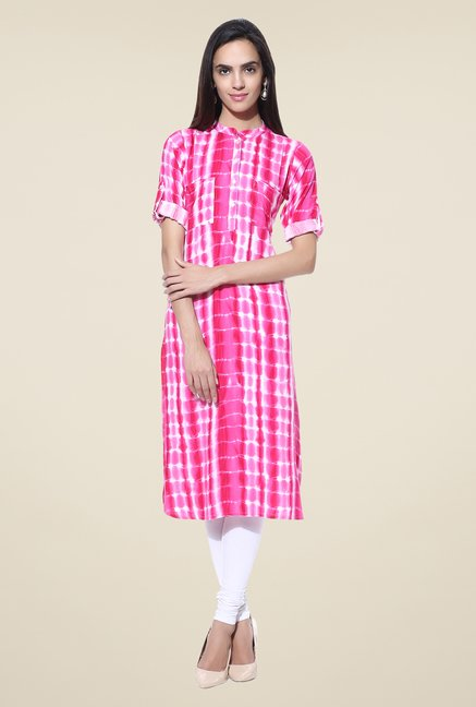 Shree Pink Printed Rayon Kurta