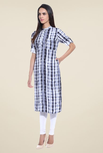 Shree Grey Printed Rayon Kurta