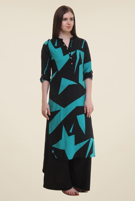 Shree Blue & Black Printed Rayon Kurta