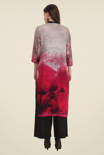 Shree Grey & Pink Printed Rayon Kurta