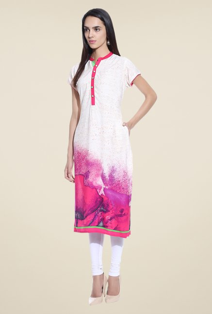 Shree Off White & Pink Printed Rayon Kurta
