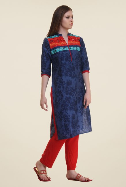 Shree Indigo Printed Cotton Kurta