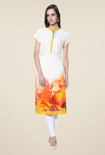 Shree Off White & Yellow Printed Rayon Kurta