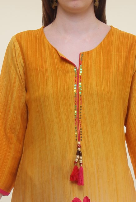 Shree Yellow Floral Print Rayon Kurta