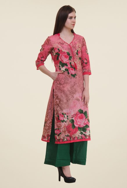 Shree Pink Floral Print Cotton Kurta