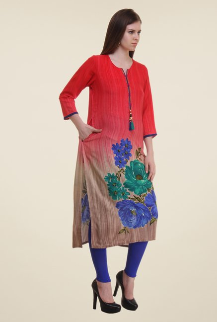 Shree Red Floral Print Rayon Kurta