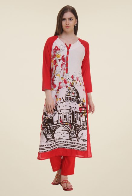 Shree Red Printed Rayon Kurta