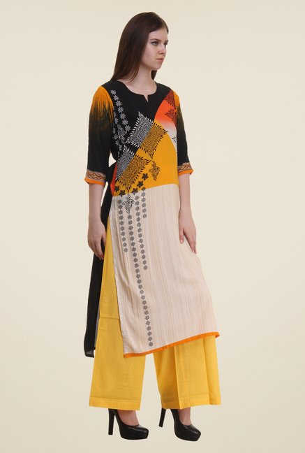 Shree Beige & Yellow Printed Rayon Kurta