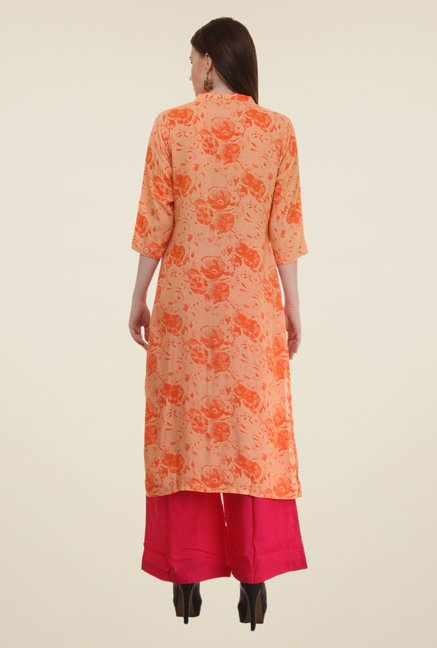 Shree Orange & Red Printed Rayon Kurta