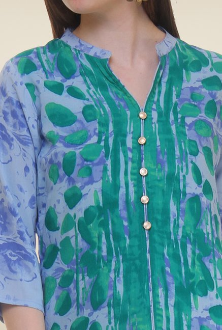 Shree Blue & Green Printed Rayon Kurta