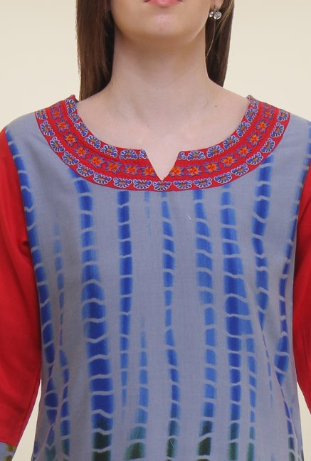 Shree Blue & Red Printed Rayon Kurta