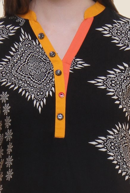 Shree Black & Yellow Printed Rayon Kurta
