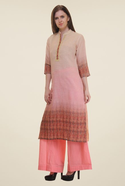 Shree Peach Printed Linen Viscose Kurta