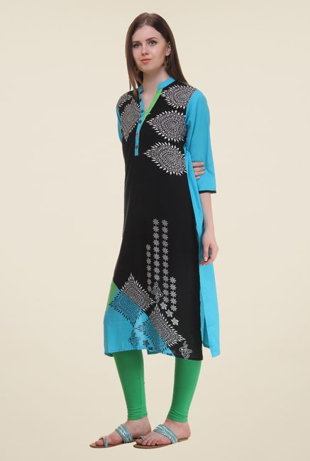 Shree Black & Blue Printed Rayon Kurta