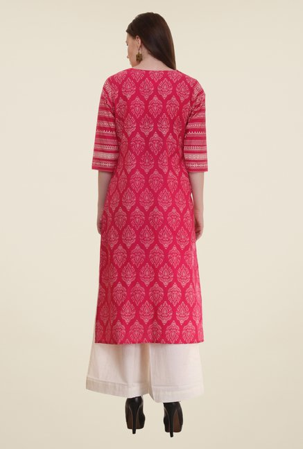 Shree Red Block Print Cotton Kurta