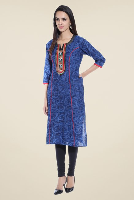 Shree Blue Floral Print Cotton Kurta