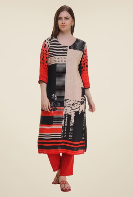 Shree Red & Black Printed Rayon Kurta