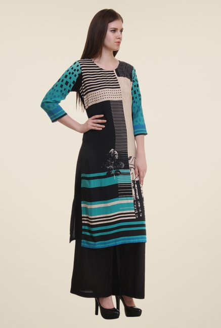 Shree Turquoise & Black Printed Rayon Kurta