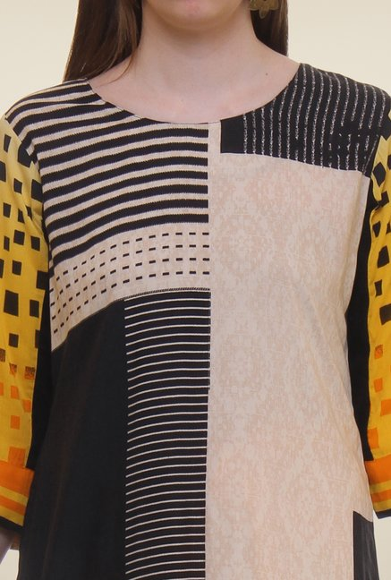 Shree Yellow & Black Printed Rayon Kurta
