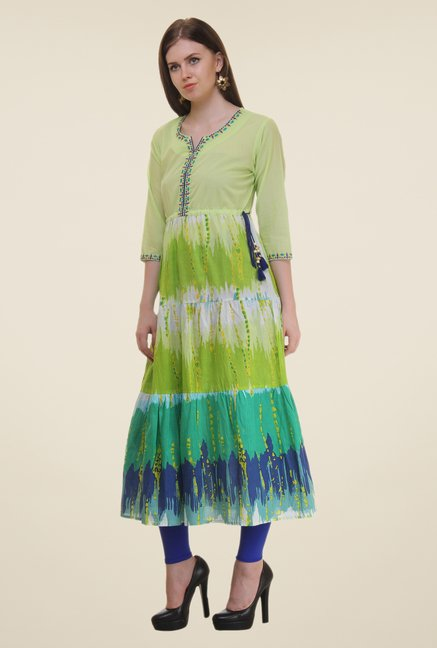 Shree Lime Printed Cotton Kurta