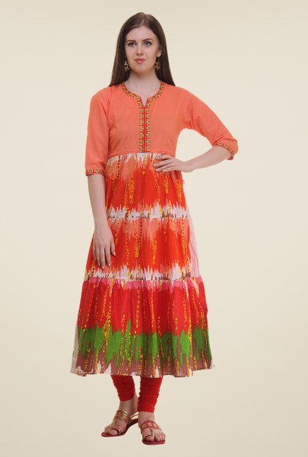 Shree Peach Printed Cotton Kurta