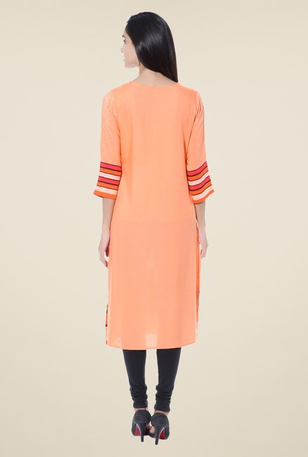 Shree Orange Printed Rayon Kurta
