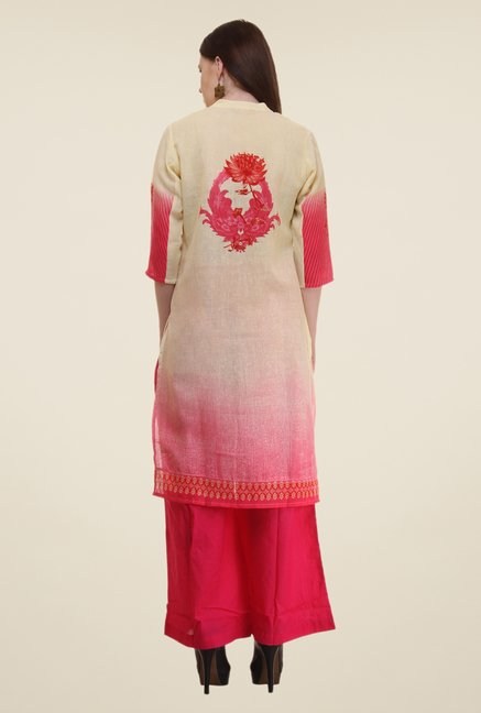 Shree Beige & Pink Printed Flex Blend Kurta