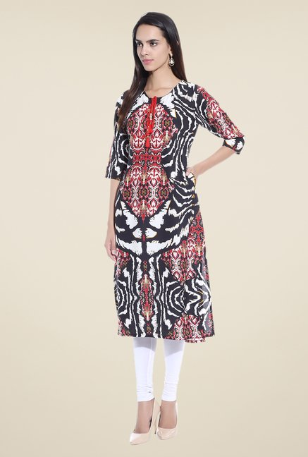 Shree Black & Red Printed Cotton Kurta