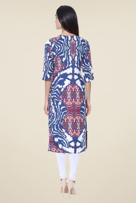 Shree Blue & Red Printed Cotton Kurta
