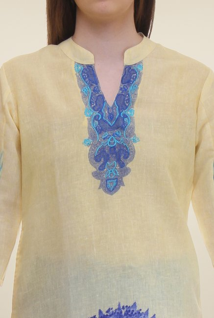Shree Beige & Blue Printed Flex Blend Kurta