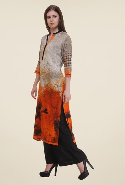Shree Grey & Orange Printed Rayon Kurta