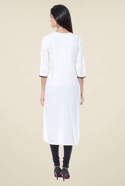 Shree White Embroidered Rayon Kurta
