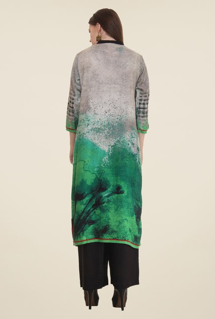 Shree Grey & Green Printed Rayon Kurta