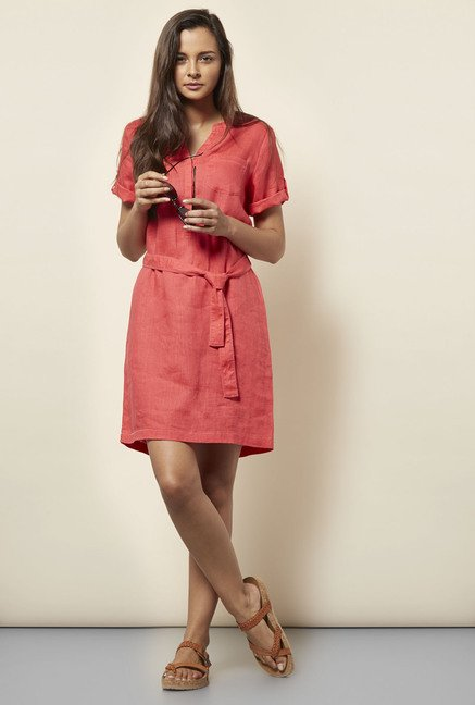 Cottonworld Solid Coral Dress