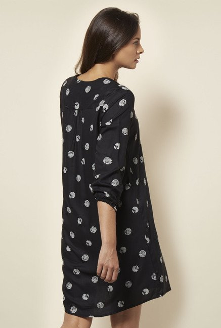 Cottonworld Printed Black Dress
