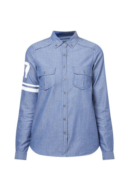 Cottonworld Solid Blue Shirt