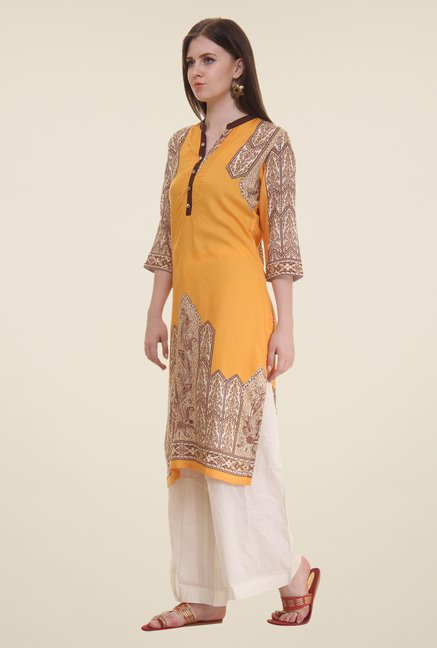 Shree Yellow Printed Rayon Kurta